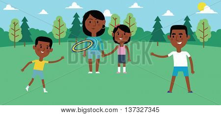 Illustration Of Family Playing With Frisbee In Park Together