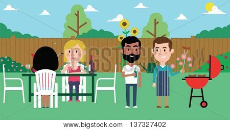 Illustration Of Friends Having Barbecue In Garden