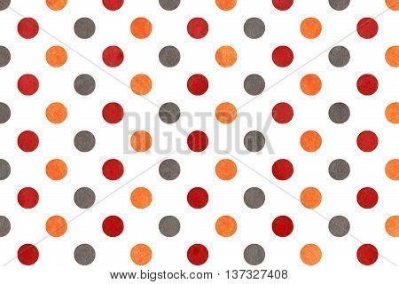 Watercolor Orange, Dark Red And Grey Polka Dot Background.