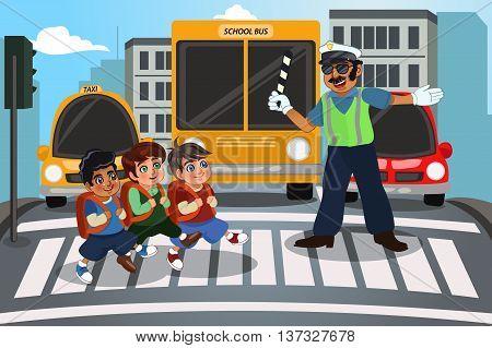 A vector illustration of children crossing street walking through pedestrian crossing