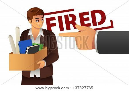 A vector illustration of fired businessman carrying a box of personal items