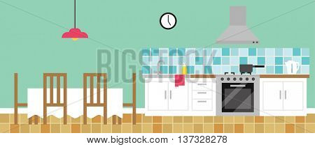 Background Illustration Of Empty Kitchen