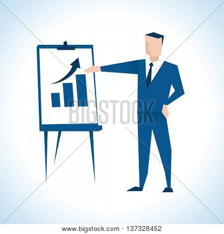 Illustration Of Businessman Giving Presentation At Flipchart