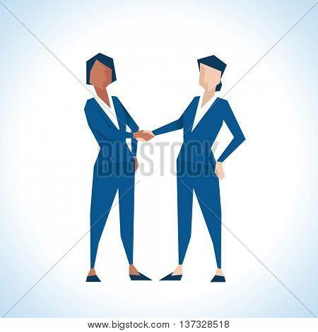 Illustration Of Two Businesswomen Shaking Hands