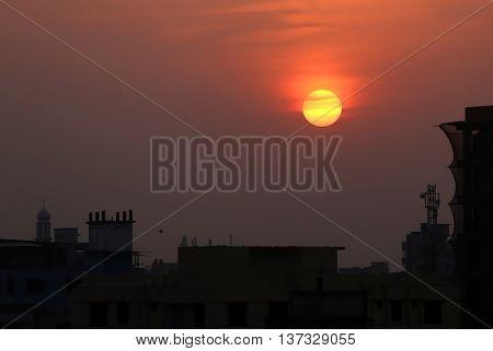 Sunset in suburban area outskirt of Dhaka Bangladesh