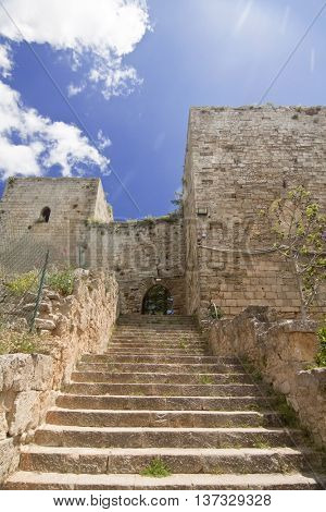 View of Lombardy Castle: staircase from Saint Nicholas courtyard to Maddalena courtyard. Enna, Sicily