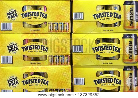 RIVER FALLS,WISCONSIN-JULY 06,2016: Several cartons of Twisted Tea hard ice tea.