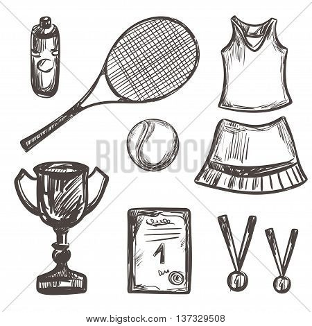 Hand drawn Tennis game set Isolated Vector illustration equipment Sport symbols Racket tennis ball tennis dress