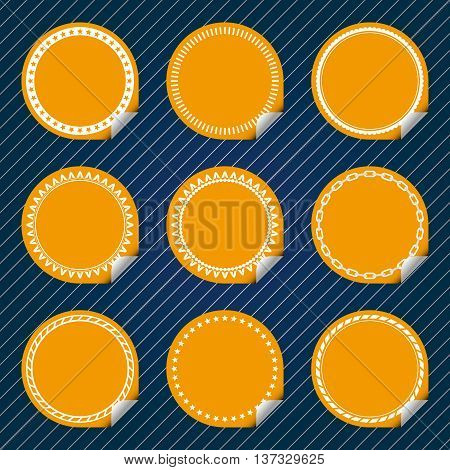 Plain Yellow Stickers with tab, different border style