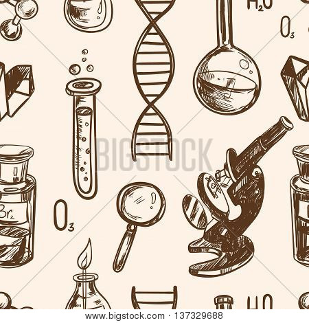 Hand drawn science beautiful vintage lab seamless pattern Vector illustration. Science lab objects doodle style sketch. Back to school.