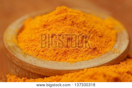 Close up of Ground turmeric on wooden surface