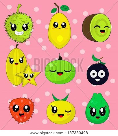 Vector illustration sticker set of cute cartoon fruit characters in kawaii style. Here are durian, plum, kiwi, gooseberry, quince, guava, carambola, lychee, papaya . Third set