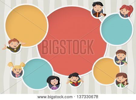 Vector background with cartoon family. Circle frames for text. Infographic template design with balls.