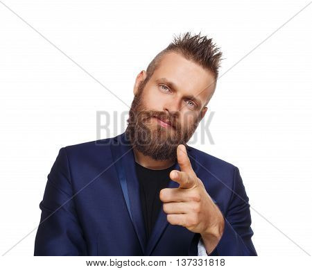 Man pointing at you. Stylish young handsome hipster point finger isolated at white.