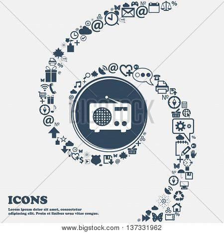 Retro Radio Sign Icon In The Center. Around The Many Beautiful Symbols Twisted In A Spiral. You Can