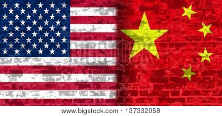 Image relative to politic relationships between United States and China. National flags textured by brick wall.