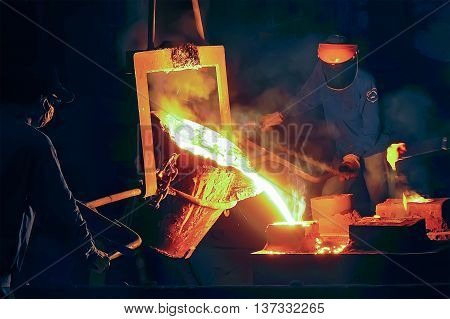 THAI NGUYEN, VIETNAM, May 18, 2016 workers, Thai Nguyen Iron and Steel Company, Vietnam, export steel production