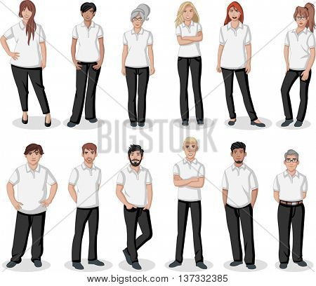 Business cartoon young people wearing white polo-style shirt