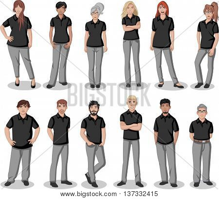 Business cartoon young people wearing black polo-style shirt