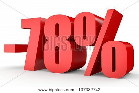 Discount 78 Percent Off. 3D Illustration On White Background.