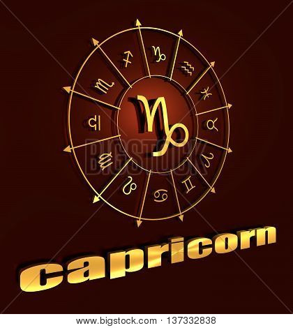 Goat astrology sign. Golden astrological symbol. 3D rendering