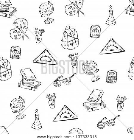 School class pattern with school supplies. Vector hand-drawn doodle illustration on white background for schools university kindergarden and classrooms.