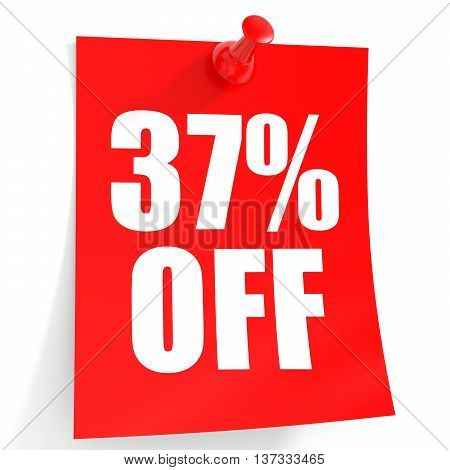 Discount 37 Percent Off. 3D Illustration On White Background.