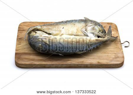Thai mackerel fish on Chopping Wood Ready-made food