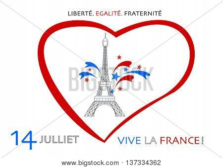 Eiffel tower and fireworks illustration for France's national holiday - Bastille Day, 14th of July