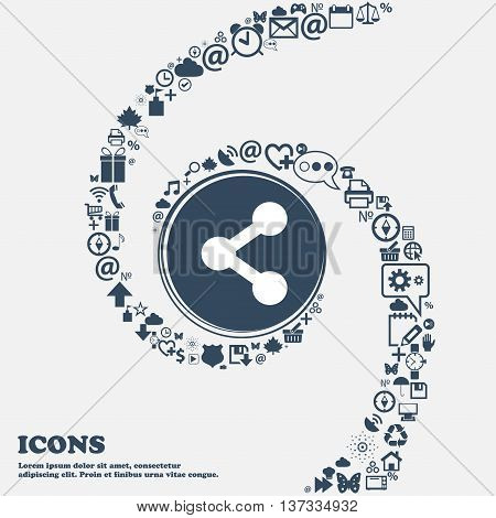 Share Icon Sign In The Center. Around The Many Beautiful Symbols Twisted In A Spiral. You Can Use Ea