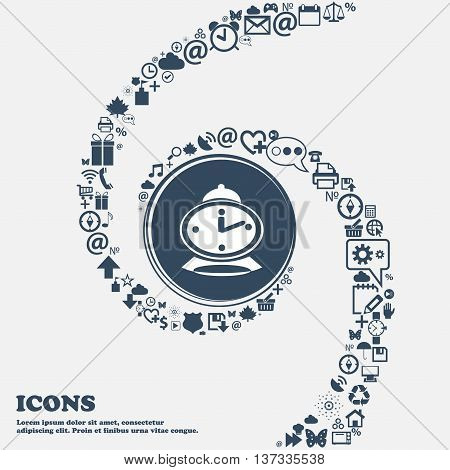 Alarm Clock Sign Icon In The Center. Around The Many Beautiful Symbols Twisted In A Spiral. You Can