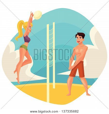 Young man and woman playing volleyball on the beach, cartoon vector illustration. Friends playing beach volleyball. Recreational summer activity, healthy lifestyle