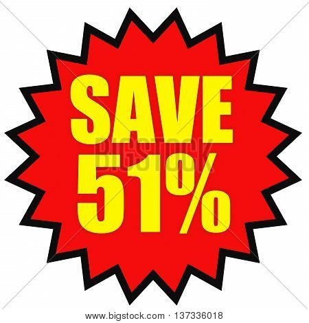 Discount 51 Percent Off. 3D Illustration On White Background.