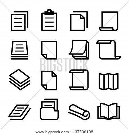 Paper icon set Vector illustration Graphic design