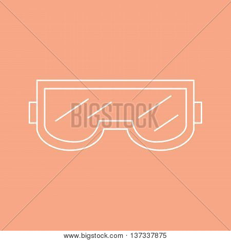 Individual protection. Safety glasses are used in construction and sport. Vector illustration.