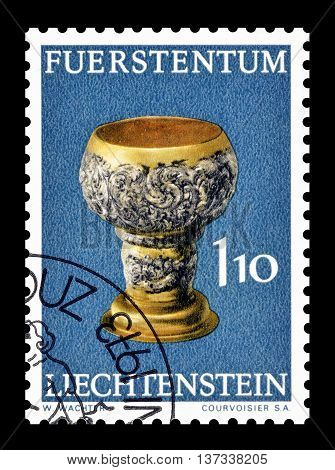 LIECHTENSTEIN - CIRCA 1973 : Cancelled postage stamp printed by Liechtenstein, that shows Silver cup.