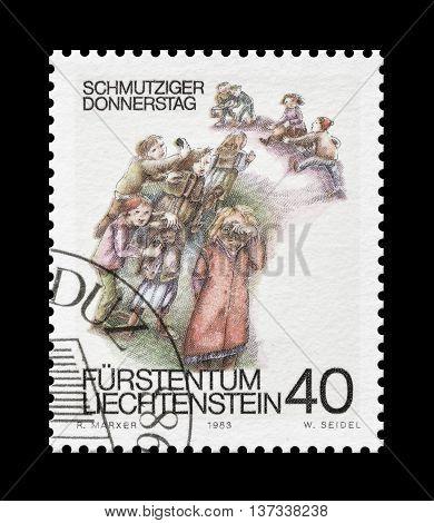 LIECHTENSTEIN - CIRCA 1983 : Cancelled postage stamp printed by Liechtenstein, that shows children playing.