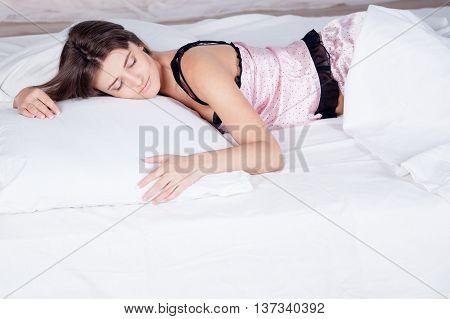 the nice girl woke up after sleeping