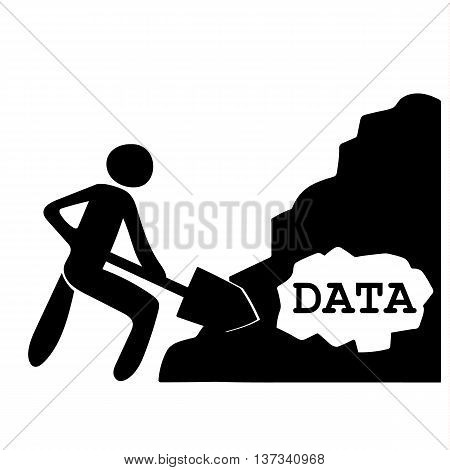 Stick figure of a man with a large shovel digging through a pile of material containing the word DATA as a metaphor for the process of data mining for information
