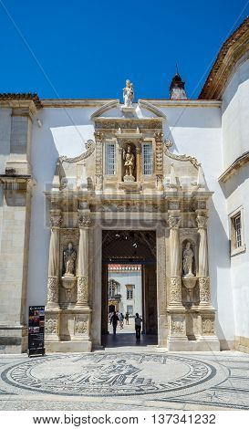 Porta Ferrea Of Coimbra University, Portugal.