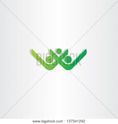Letter W And V Healthy People Green Vector Icon