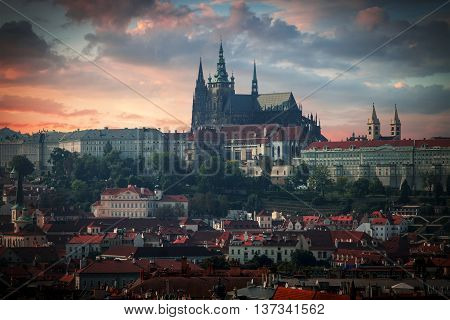 Vltava River And St.vitus Cathedral In Prague