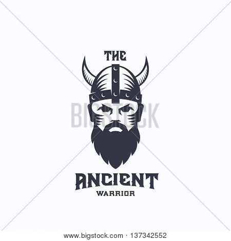 Ancient Warrior Abstract Vector Logo Template. Viking Symbol. Medieval Fighter in Horned Helmet. Bearded Soldier Face Icon with Retro Typography. Isolated.