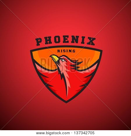 Phoenix Rising Abstract Vector Logo Template. Flying Fire Bird Illustration in a Shield. Perfect for Sport Team Emblems, League Labels, etc. On Red Background.