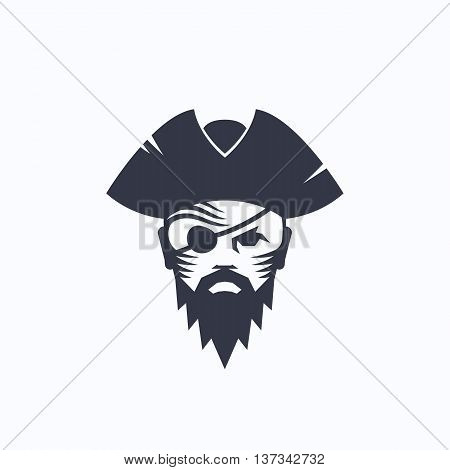 Pirate Head Abstract Vector Logo Template. Sailor Face with an Eye Patch in a Hat Illustration. Corsair Symbol. Isolated.
