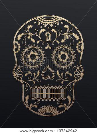 Sugar Skull day of the dead. Vector art