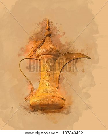 Dallah Painting - the Traditional arabic coffee pot