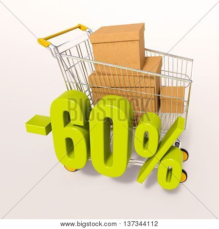 3d render: shopping cart and green 60 percentage discount sign on white