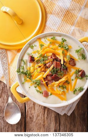 Tasty Thick Potato Soup With Bacon And Cheddar Cheese. Vertical Top View