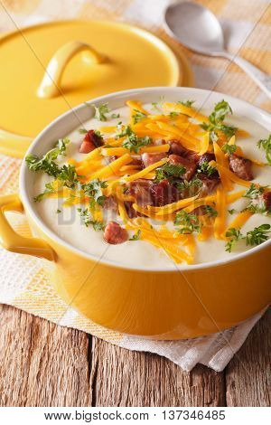 Cream Potato Soup With Bacon And Cheddar Cheese Close-up. Vertical